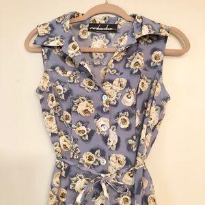 Dresses & Skirts - Vintage Blue Floral Dress, Fits Small or Medium!